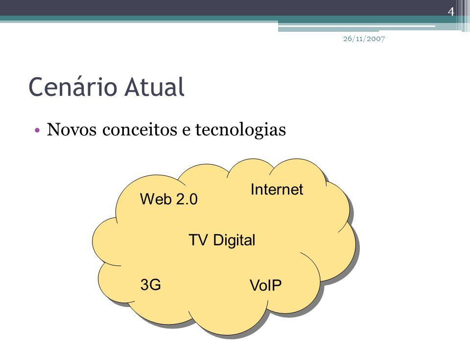 Cenário Atual TV Digital Internet 3G VoIP Web 2.0 Novos conceitos e tecnologias 4 26/11/2007
