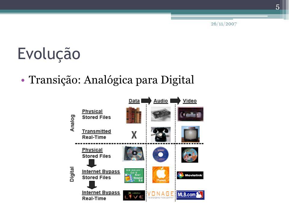 Evolução TV Analógica ▫1945: preto e branco ▫1953: colorida ▫1984: som estéreo TV Digital ▫HDTV ▫Interatividade ▫IPTV 6 26/11/2007