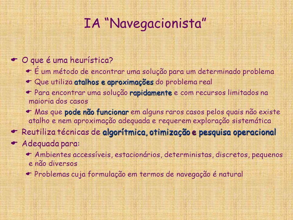 """IA """"Navegacionista""""  O que é uma heurística?  É um método de encontrar uma solução para um determinado problema atalhos e aproximações  Que utiliza"""