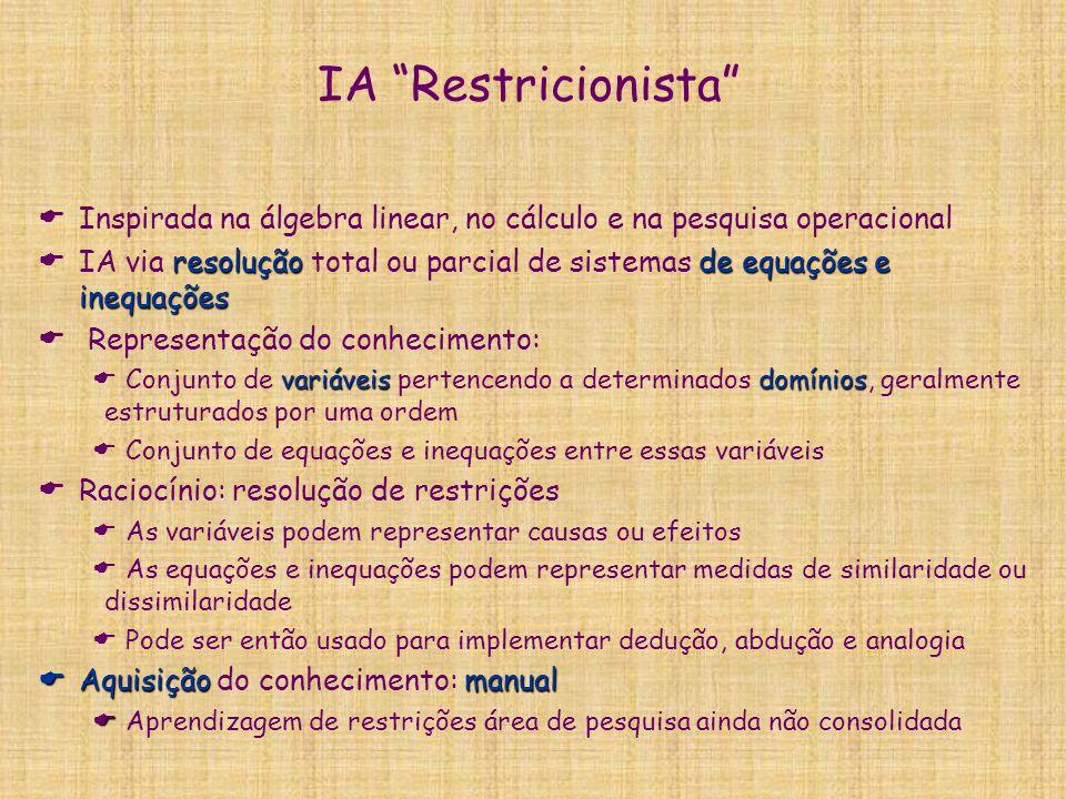 """IA """"Restricionista""""  Inspirada na álgebra linear, no cálculo e na pesquisa operacional resolução de equações e inequações  IA via resolução total ou"""