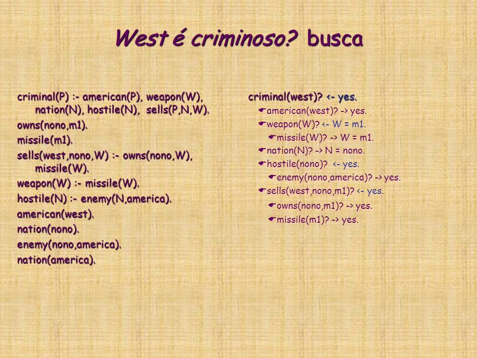West é criminoso? busca criminal(P) :- american(P), weapon(W), nation(N), hostile(N), sells(P,N,W). owns(nono,m1).missile(m1). sells(west,nono,W) :- o