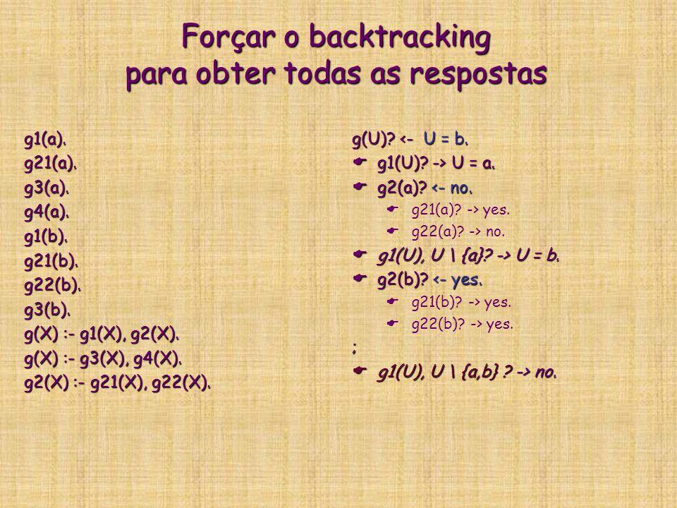 Forçar o backtracking para obter todas as respostas g1(a).g21(a).g3(a).g4(a).g1(b).g21(b).g22(b).g3(b). g(X) :- g1(X), g2(X). g(X) :- g3(X), g4(X). g2
