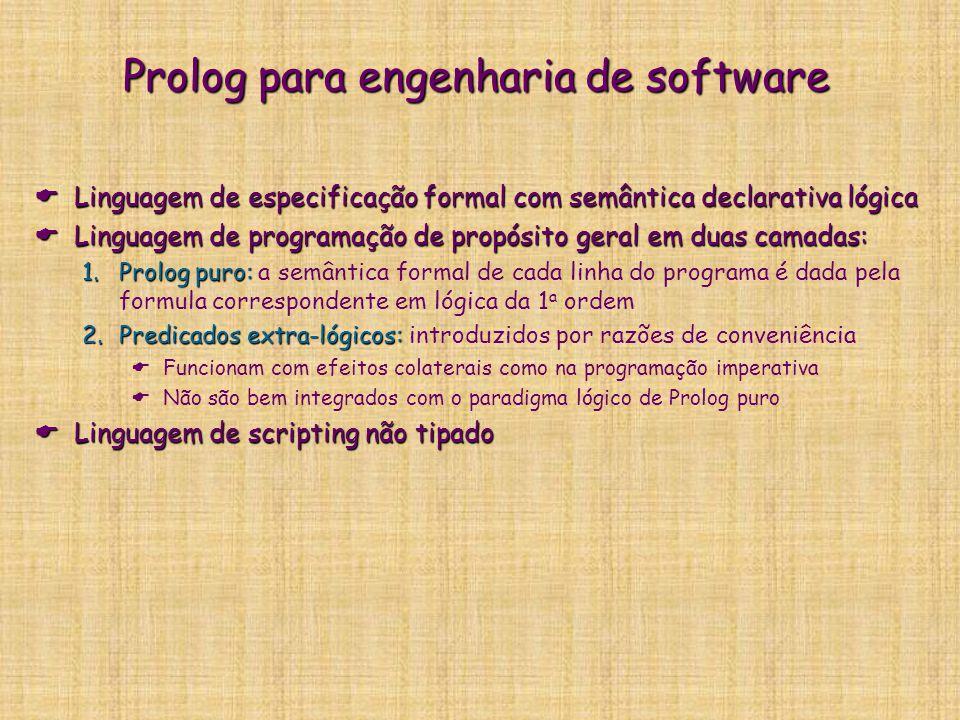 Prolog para engenharia de software  Linguagem de especificação formal com semântica declarativa lógica  Linguagem de programação de propósito geral em duas camadas: 1.Prolog puro: 1.Prolog puro: a semântica formal de cada linha do programa é dada pela formula correspondente em lógica da 1 a ordem 2.Predicados extra-lógicos: 2.Predicados extra-lógicos: introduzidos por razões de conveniência  Funcionam com efeitos colaterais como na programação imperativa  Não são bem integrados com o paradigma lógico de Prolog puro  Linguagem de scripting não tipado