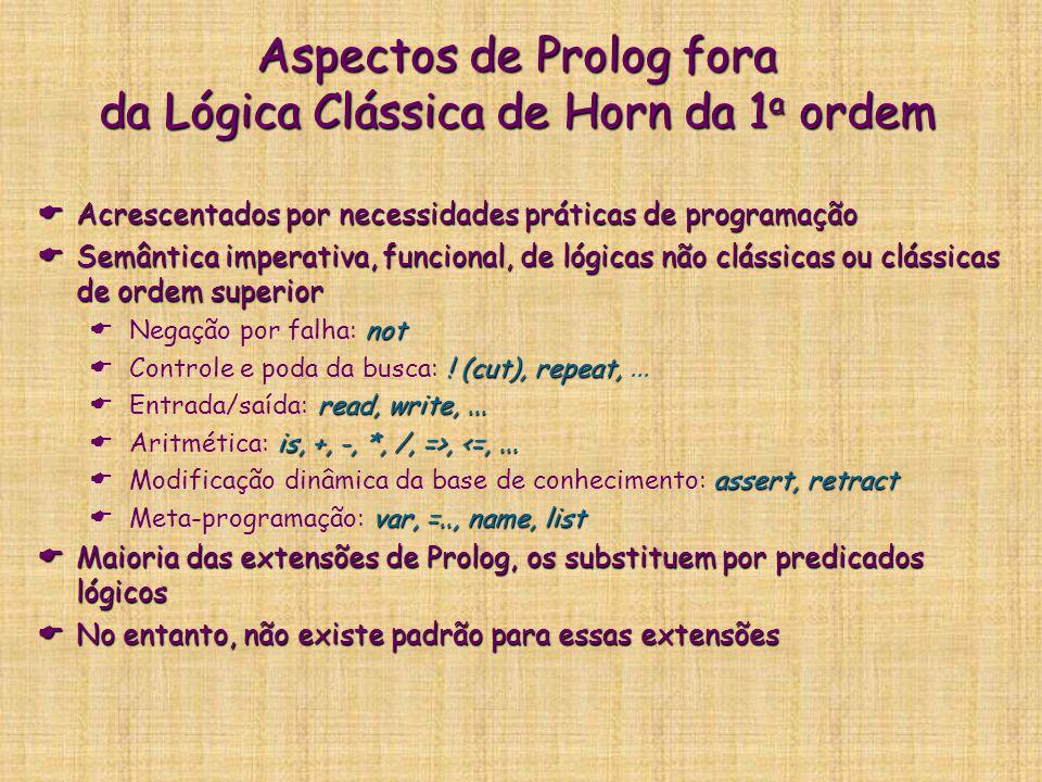 Aspectos de Prolog fora da Lógica Clássica de Horn da 1 a ordem  Acrescentados por necessidades práticas de programação  Semântica imperativa, funci
