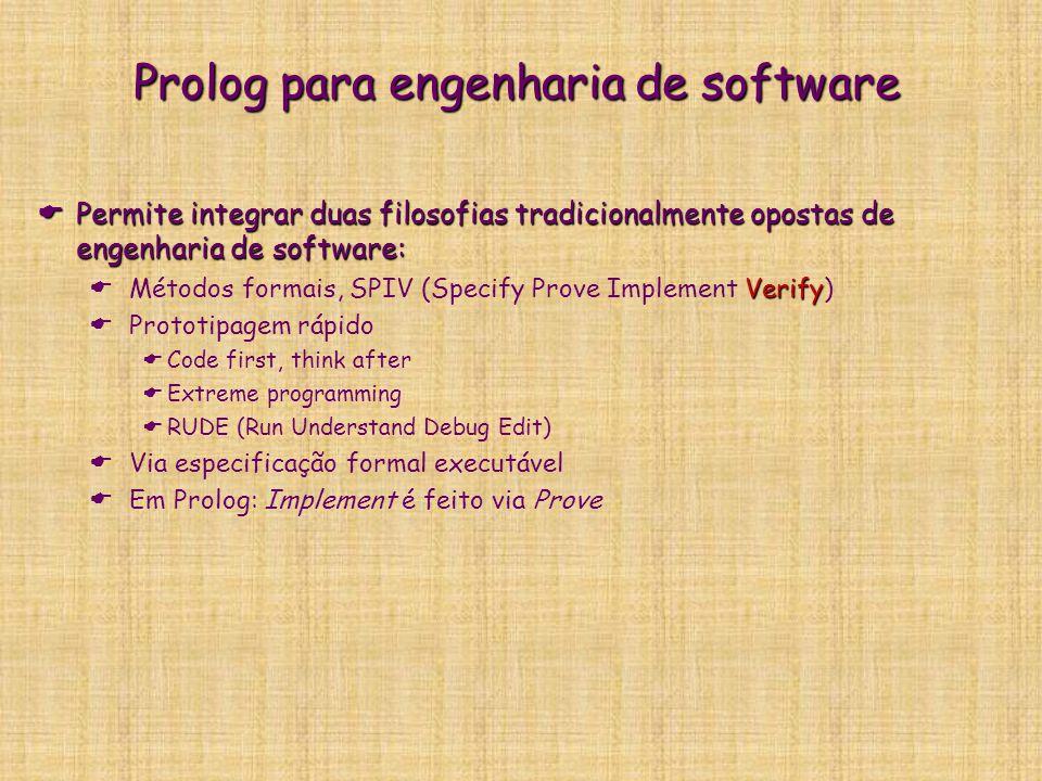 Prolog para engenharia de software  Permite integrar duas filosofias tradicionalmente opostas de engenharia de software: Verify  Métodos formais, SP