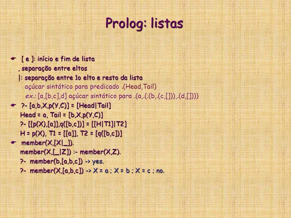 Prolog: listas  [ e ]: início e fim de lista, separação entre eltos, separação entre eltos |: separação entre 1o elto e resto da lista |: separação entre 1o elto e resto da lista açúcar sintático para predicado.(Head,Tail) ex.: [a,[b,c],d] açúcar sintático para.(a,.(.(b,.(c,[])),.(d,[])))  ?- [a,b,X,p(Y,C)] = [Head|Tail] Head = a, Tail = [b,X,p(Y,C)] Head = a, Tail = [b,X,p(Y,C)] ?- [[p(X),[a]],q([b,c])] = [[H|T1]|T2] ?- [[p(X),[a]],q([b,c])] = [[H|T1]|T2] H = p(X), T1 = [[a]], T2 = [q([b,c])] H = p(X), T1 = [[a]], T2 = [q([b,c])]  member(X,[X|_]).