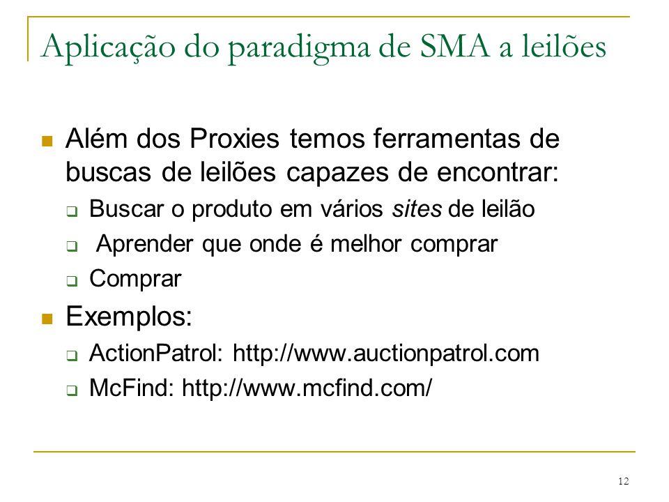 12 Aplicação do paradigma de SMA a leilões Além dos Proxies temos ferramentas de buscas de leilões capazes de encontrar:  Buscar o produto em vários