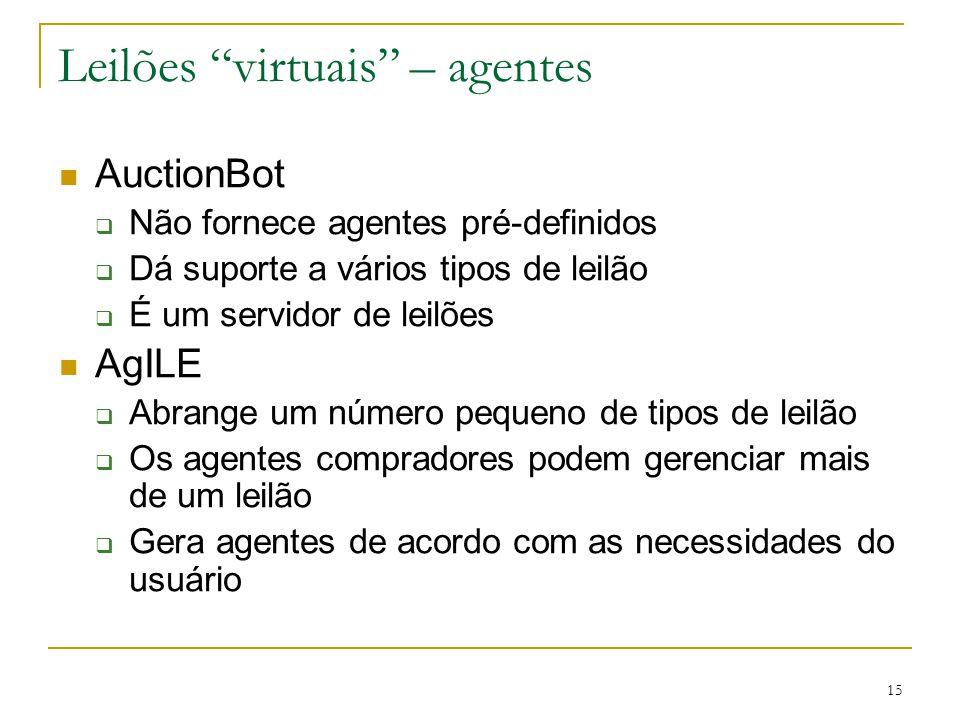 """15 Leilões """"virtuais"""" – agentes AuctionBot  Não fornece agentes pré-definidos  Dá suporte a vários tipos de leilão  É um servidor de leilões AgILE"""