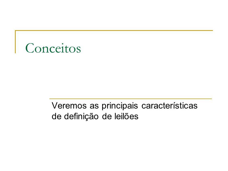 Conceitos Veremos as principais características de definição de leilões