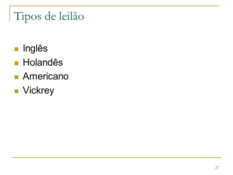 27 Tipos de leilão Inglês Holandês Americano Vickrey