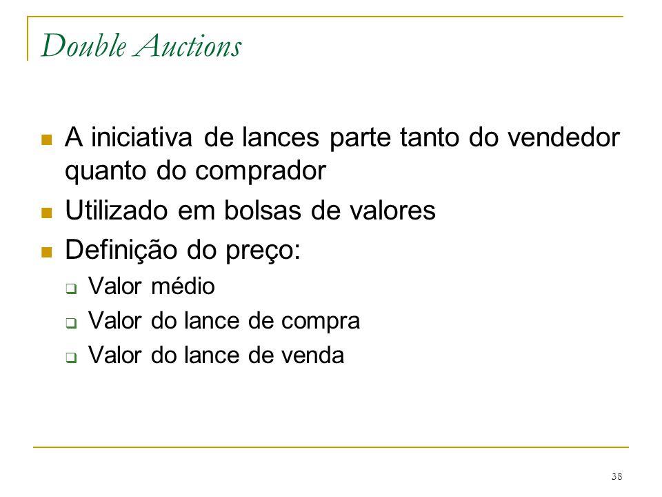 38 Double Auctions A iniciativa de lances parte tanto do vendedor quanto do comprador Utilizado em bolsas de valores Definição do preço:  Valor médio
