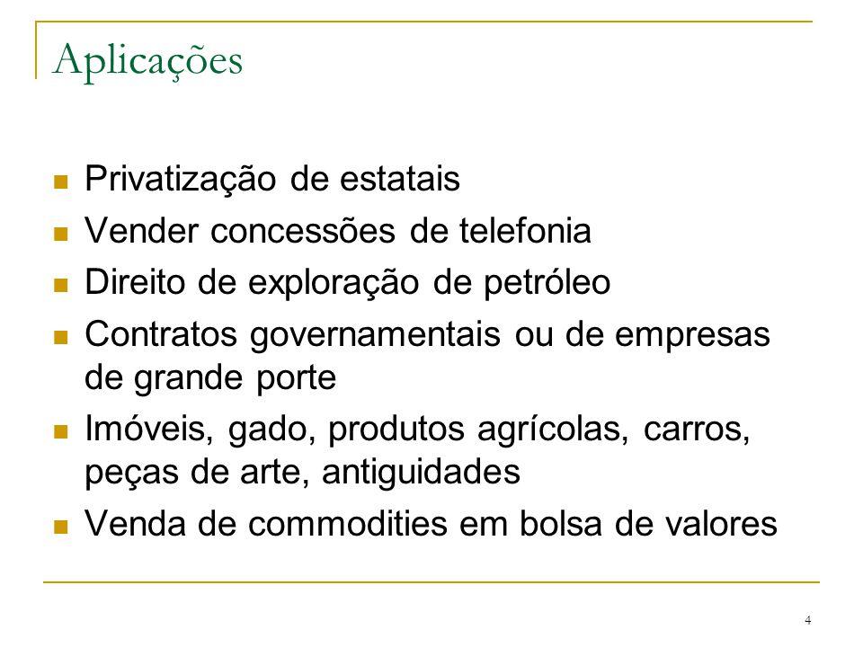 4 Aplicações Privatização de estatais Vender concessões de telefonia Direito de exploração de petróleo Contratos governamentais ou de empresas de gran