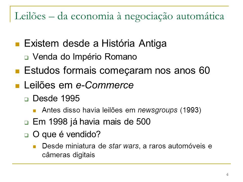 6 Leilões – da economia à negociação automática Existem desde a História Antiga  Venda do Império Romano Estudos formais começaram nos anos 60 Leilõe