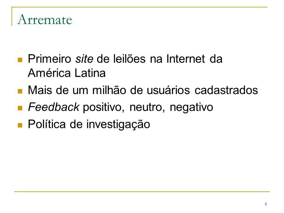 9 Arremate Primeiro site de leilões na Internet da América Latina Mais de um milhão de usuários cadastrados Feedback positivo, neutro, negativo Políti