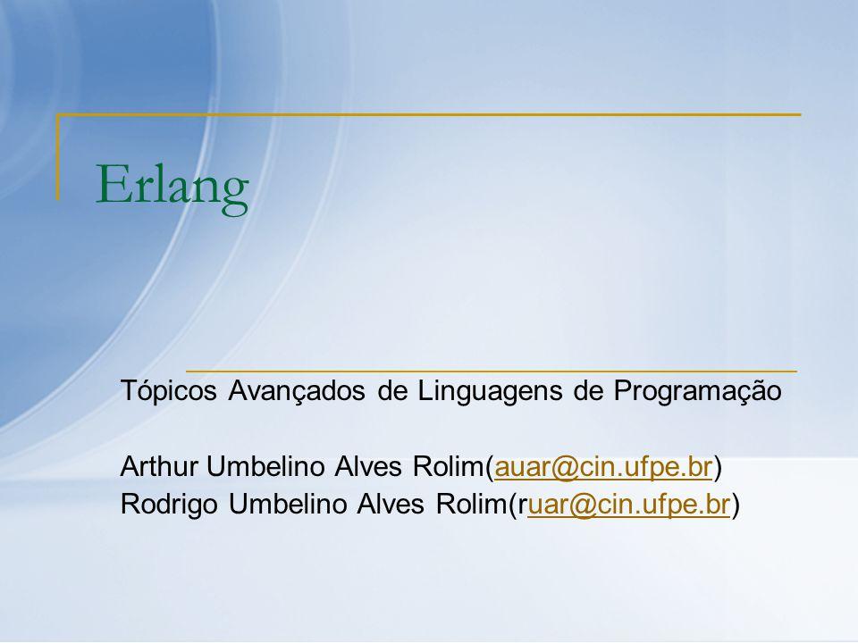 Erlang Tópicos Avançados de Linguagens de Programação Arthur Umbelino Alves Rolim(auar@cin.ufpe.br)auar@cin.ufpe.br Rodrigo Umbelino Alves Rolim(ruar@