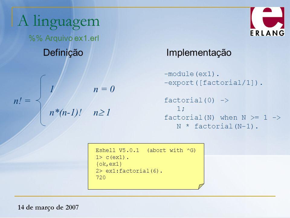 14 de março de 2007 A linguagem % Arquivo ex1.erl n! = 1 n*(n-1)! n = 0 n  1 Definição -module(ex1). -export([factorial/1]). factorial(0) -> 1; facto