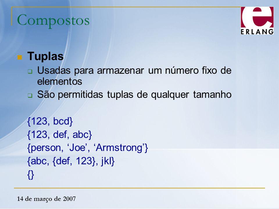 14 de março de 2007 Compostos Tuplas  Usadas para armazenar um número fixo de elementos  São permitidas tuplas de qualquer tamanho {123, bcd} {123,