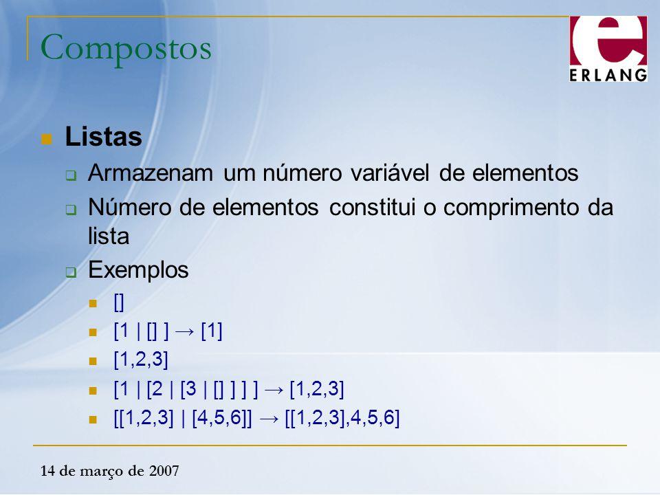 14 de março de 2007 Compostos Listas  Armazenam um número variável de elementos  Número de elementos constitui o comprimento da lista  Exemplos []