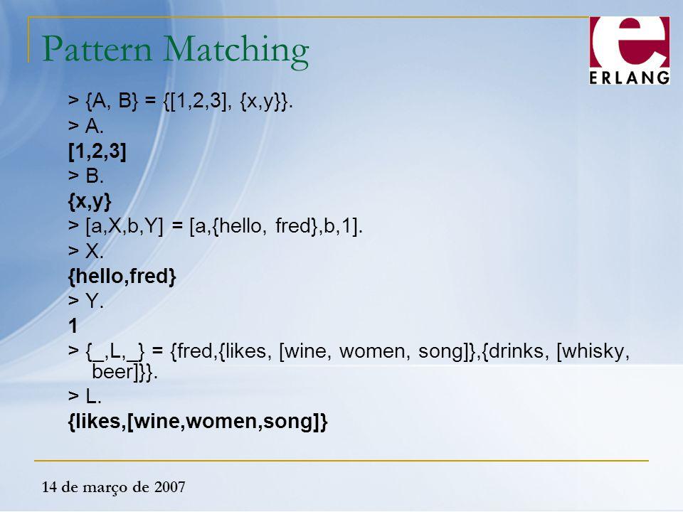 14 de março de 2007 Pattern Matching > {A, B} = {[1,2,3], {x,y}}. > A. [1,2,3] > B. {x,y} > [a,X,b,Y] = [a,{hello, fred},b,1]. > X. {hello,fred} > Y.