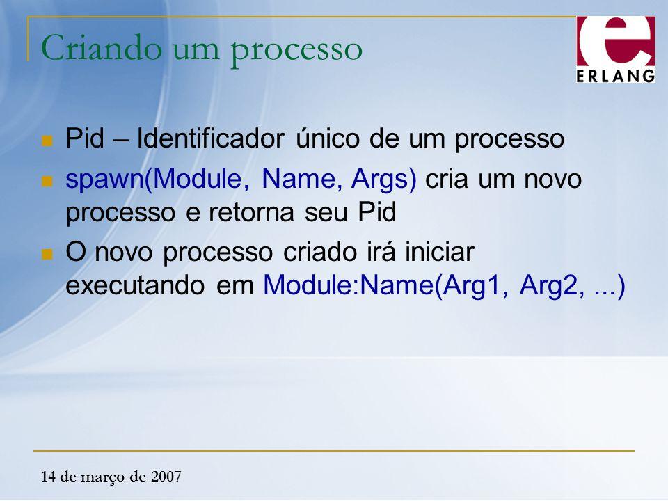 14 de março de 2007 Criando um processo Pid – Identificador único de um processo spawn(Module, Name, Args) cria um novo processo e retorna seu Pid O n