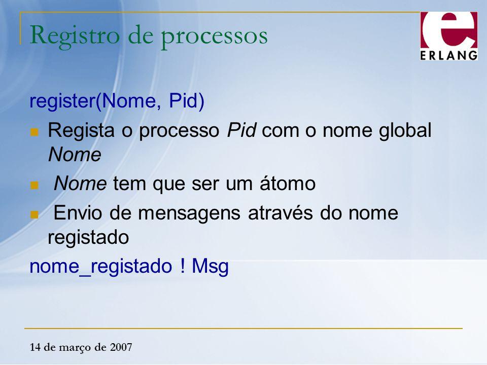 14 de março de 2007 Registro de processos register(Nome, Pid) Regista o processo Pid com o nome global Nome Nome tem que ser um átomo Envio de mensage