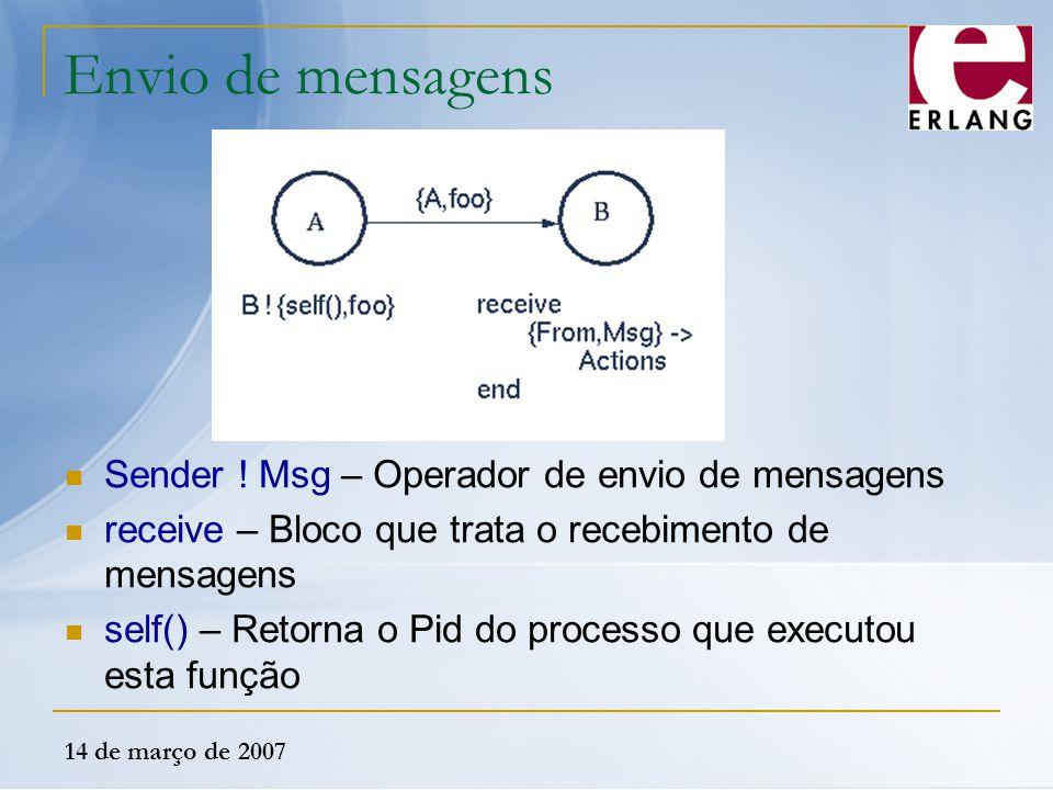 14 de março de 2007 Envio de mensagens Sender ! Msg – Operador de envio de mensagens receive – Bloco que trata o recebimento de mensagens self() – Ret