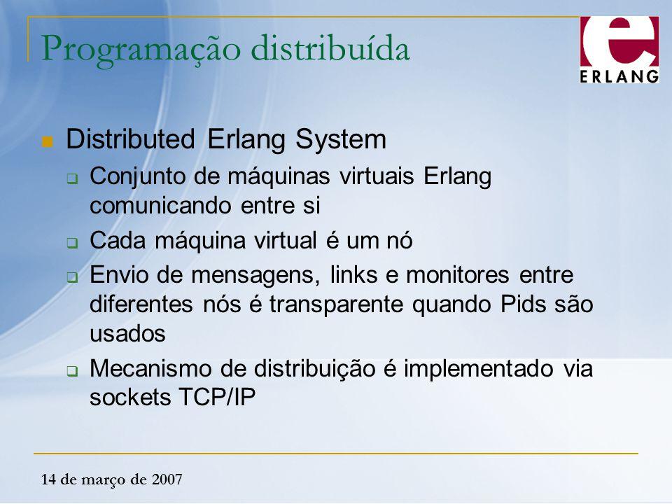 14 de março de 2007 Programação distribuída Distributed Erlang System  Conjunto de máquinas virtuais Erlang comunicando entre si  Cada máquina virtu