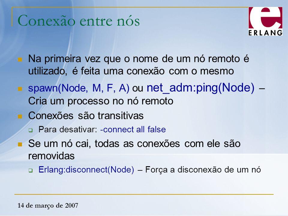 14 de março de 2007 Conexão entre nós Na primeira vez que o nome de um nó remoto é utilizado, é feita uma conexão com o mesmo spawn(Node, M, F, A) ou