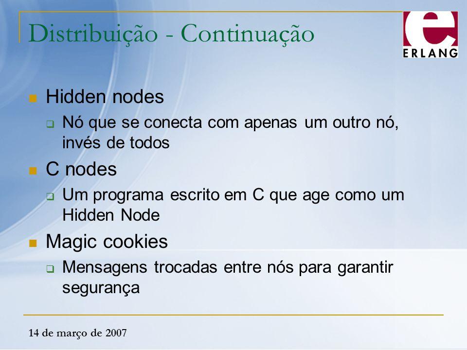 14 de março de 2007 Distribuição - Continuação Hidden nodes  Nó que se conecta com apenas um outro nó, invés de todos C nodes  Um programa escrito e