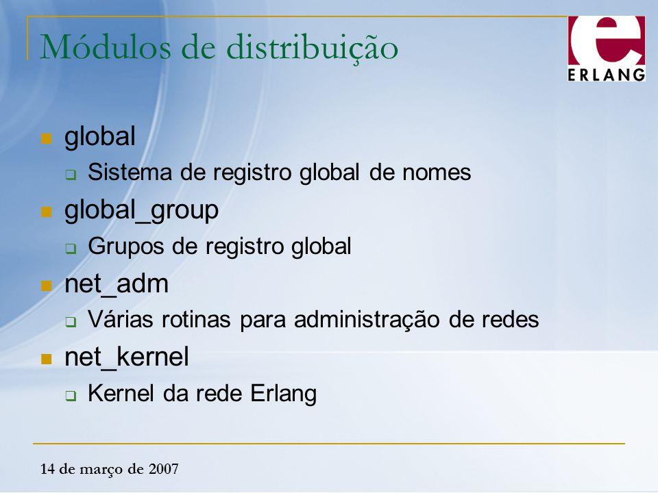 14 de março de 2007 Módulos de distribuição global  Sistema de registro global de nomes global_group  Grupos de registro global net_adm  Várias rot