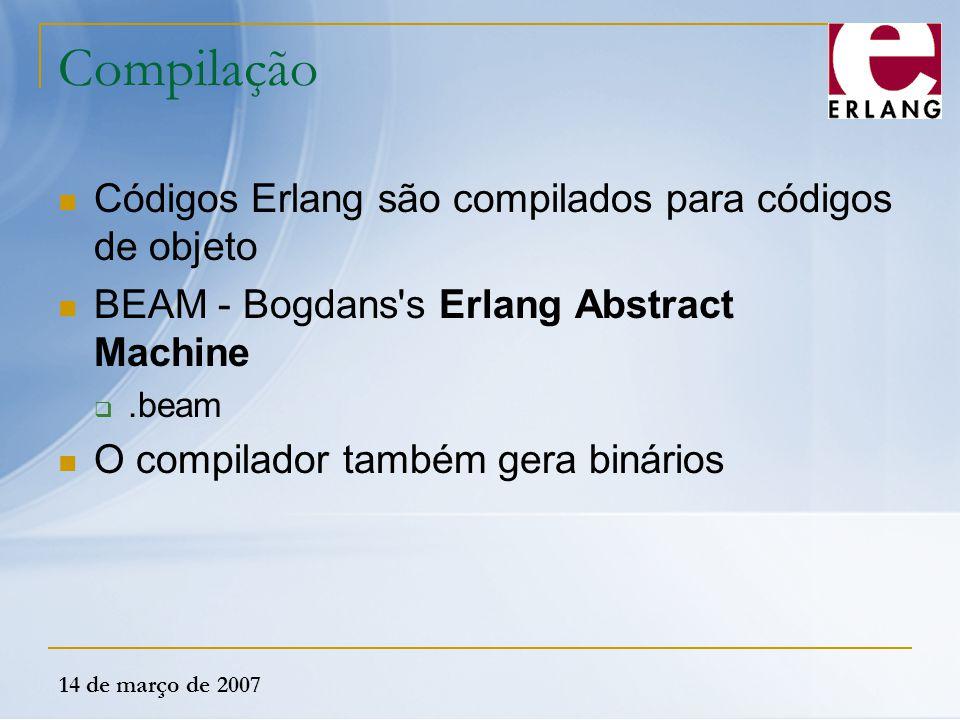 14 de março de 2007 Compilação Códigos Erlang são compilados para códigos de objeto BEAM - Bogdans's Erlang Abstract Machine .beam O compilador també