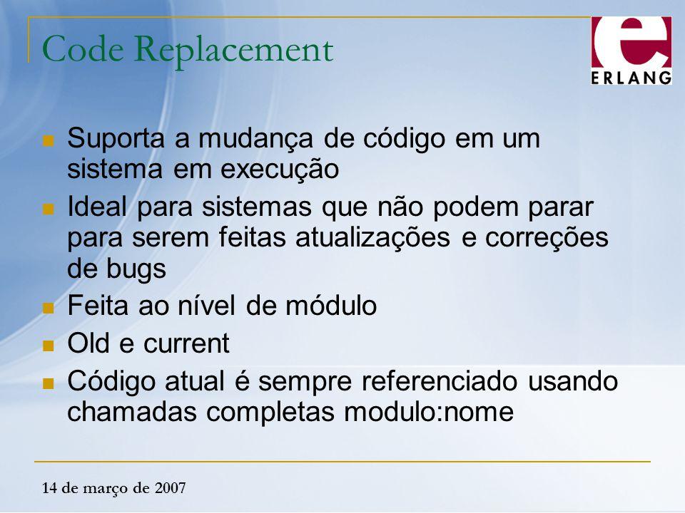 14 de março de 2007 Code Replacement Suporta a mudança de código em um sistema em execução Ideal para sistemas que não podem parar para serem feitas a