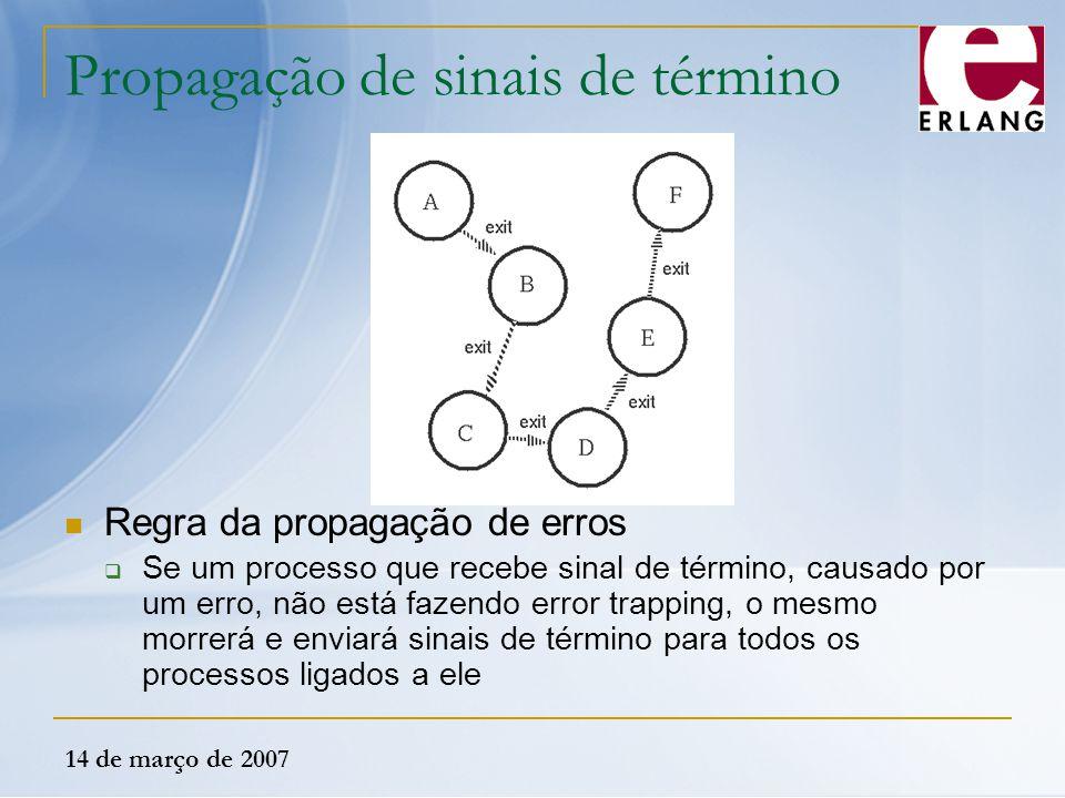 14 de março de 2007 Propagação de sinais de término Regra da propagação de erros  Se um processo que recebe sinal de término, causado por um erro, nã