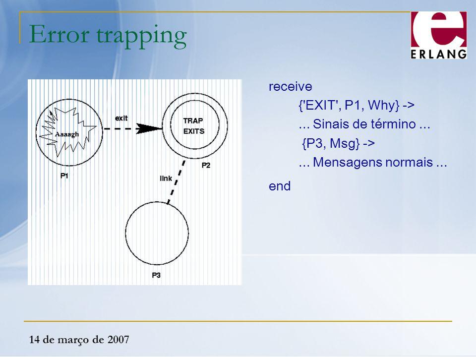 14 de março de 2007 Error trapping receive {'EXIT', P1, Why} ->... Sinais de término... {P3, Msg} ->... Mensagens normais... end