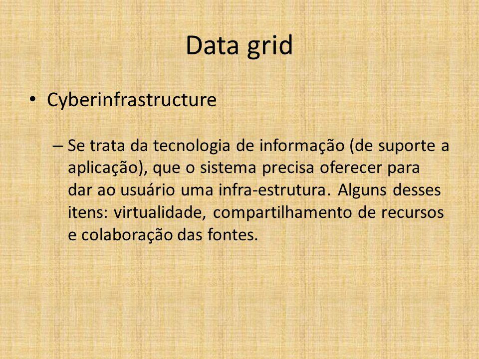 Data grid Cyberinfrastructure – Se trata da tecnologia de informação (de suporte a aplicação), que o sistema precisa oferecer para dar ao usuário uma infra-estrutura.