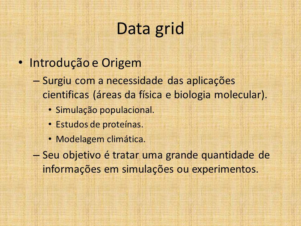 Data grid Introdução e Origem – Surgiu com a necessidade das aplicações cientificas (áreas da física e biologia molecular). Simulação populacional. Es