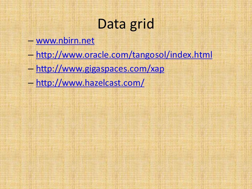 Data grid – www.nbirn.net www.nbirn.net – http://www.oracle.com/tangosol/index.html http://www.oracle.com/tangosol/index.html – http://www.gigaspaces.com/xap http://www.gigaspaces.com/xap – http://www.hazelcast.com/ http://www.hazelcast.com/
