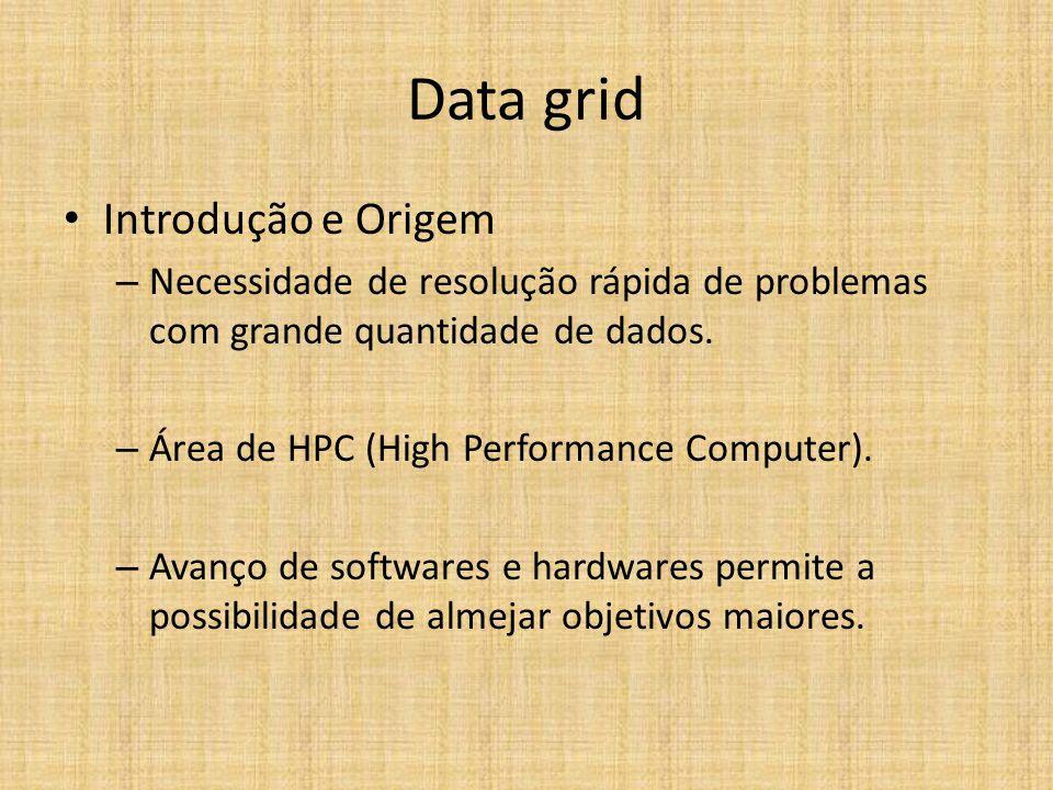 Data grid Introdução e Origem – Necessidade de resolução rápida de problemas com grande quantidade de dados. – Área de HPC (High Performance Computer)