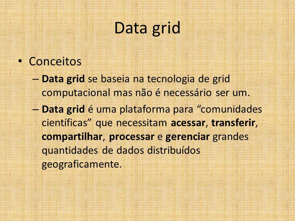 """Data grid Conceitos – Data grid se baseia na tecnologia de grid computacional mas não é necessário ser um. – Data grid é uma plataforma para """"comunida"""