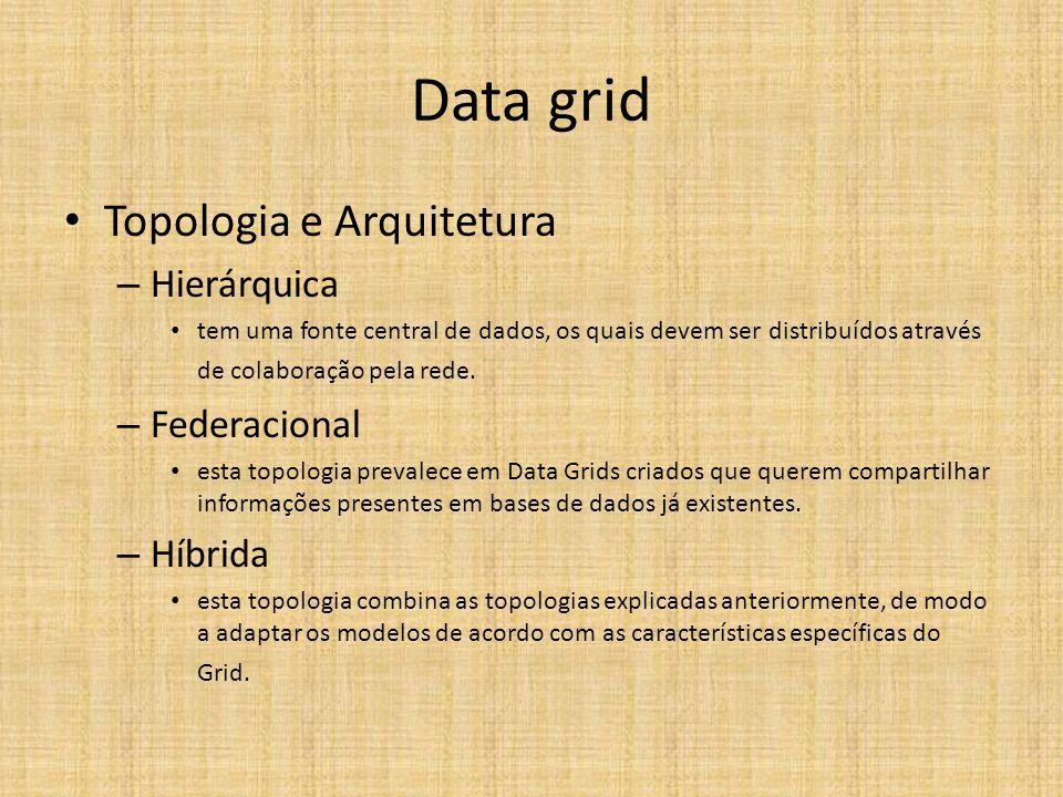 Data grid Topologia e Arquitetura – Hierárquica tem uma fonte central de dados, os quais devem ser distribuídos através de colaboração pela rede. – Fe