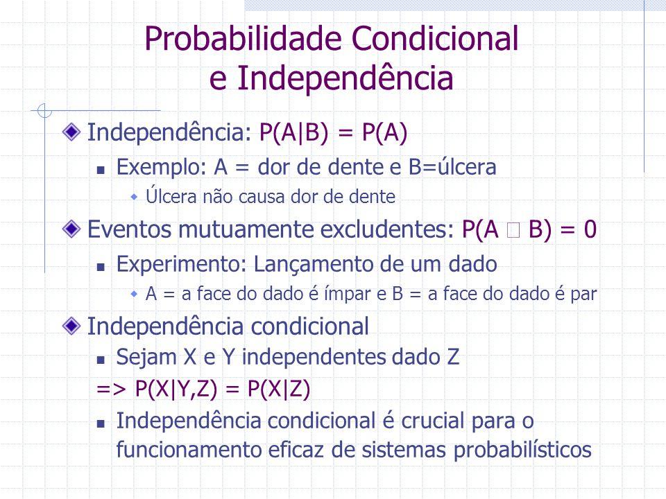 Probabilidade Condicional e Independência Independência: P(A B) = P(A) Exemplo: A = dor de dente e B=úlcera  Úlcera não causa dor de dente Eventos mutuamente excludentes: P(A  B) = 0 Experimento: Lançamento de um dado  A = a face do dado é ímpar e B = a face do dado é par Independência condicional Sejam X e Y independentes dado Z => P(X Y,Z) = P(X Z) Independência condicional é crucial para o funcionamento eficaz de sistemas probabilísticos
