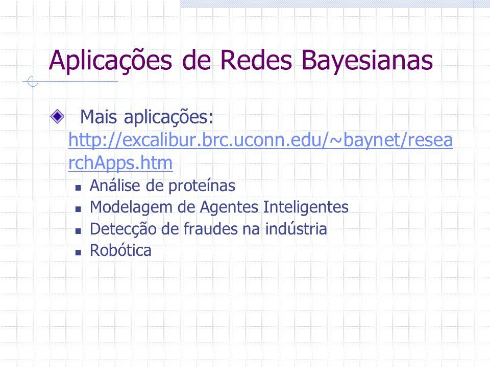 Aplicações de Redes Bayesianas Mais aplicações: http://excalibur.brc.uconn.edu/~baynet/resea rchApps.htm http://excalibur.brc.uconn.edu/~baynet/resea rchApps.htm Análise de proteínas Modelagem de Agentes Inteligentes Detecção de fraudes na indústria Robótica