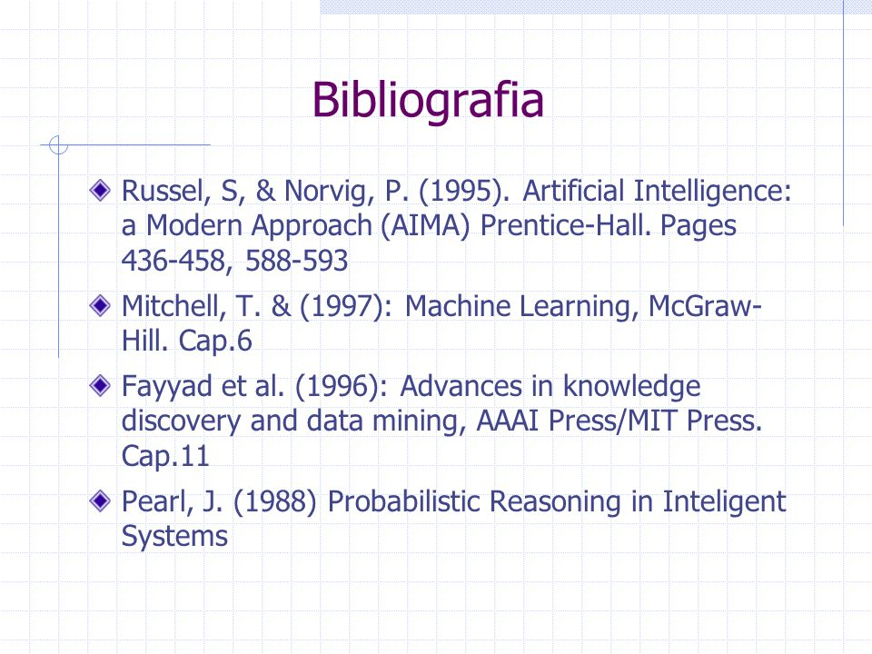 Bibliografia Russel, S, & Norvig, P. (1995). Artificial Intelligence: a Modern Approach (AIMA) Prentice-Hall. Pages 436-458, 588-593 Mitchell, T. & (1