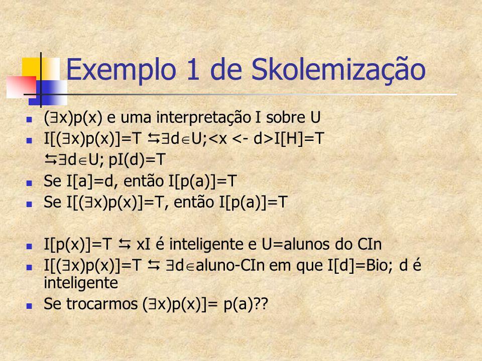 Exemplo 1 de Skolemização (  x)p(x) e uma interpretação I sobre U I[(  x)p(x)]=T   d  U; I[H]=T   d  U; pI(d)=T Se I[a]=d, então I[p(a)]=T Se