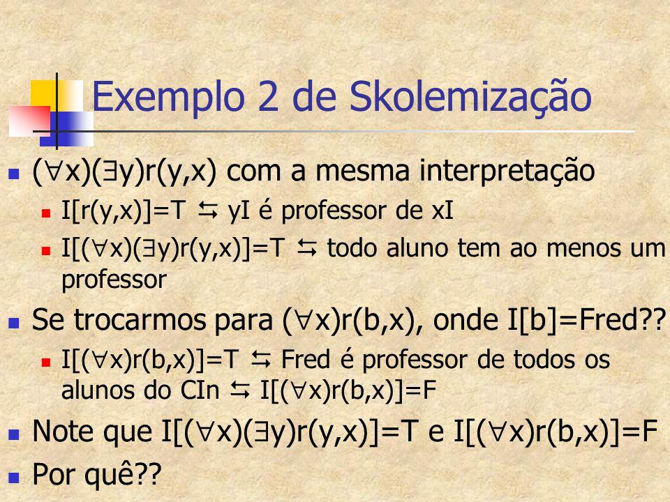 Exemplo 2 de Skolemização (  x)(  y)r(y,x) com a mesma interpretação I[r(y,x)]=T  yI é professor de xI I[(  x)(  y)r(y,x)]=T  todo aluno tem ao