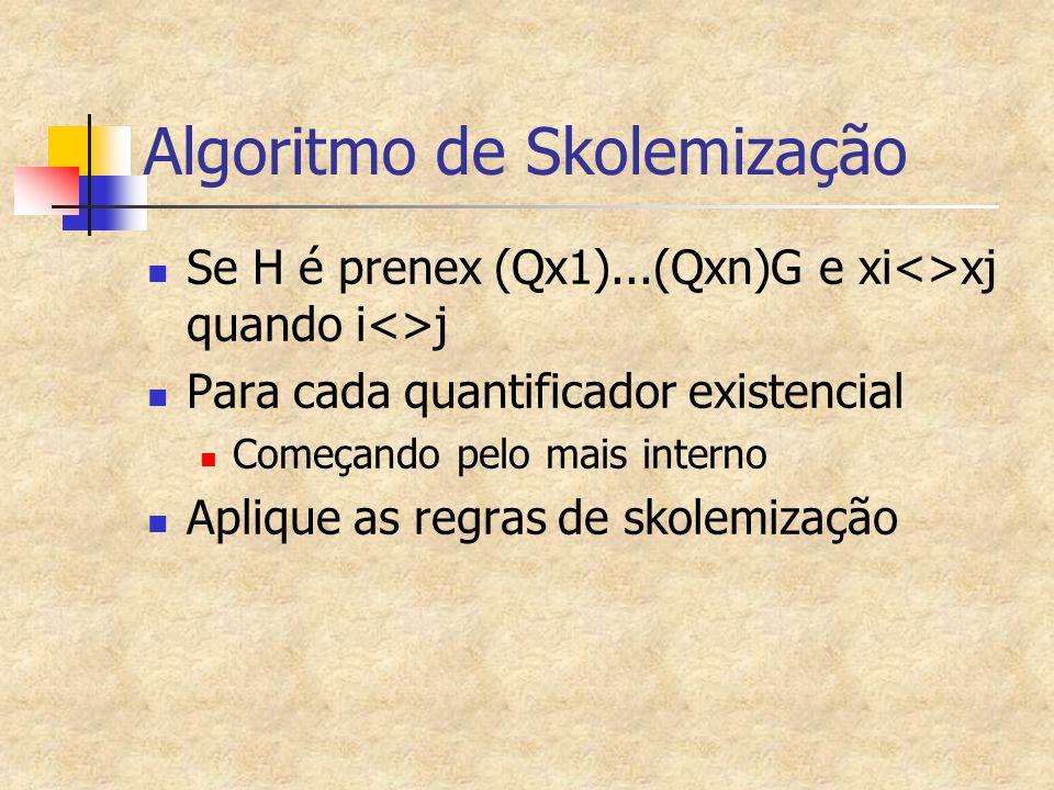 Algoritmo de Skolemização Se H é prenex (Qx1)...(Qxn)G e xi<>xj quando i<>j Para cada quantificador existencial Começando pelo mais interno Aplique as