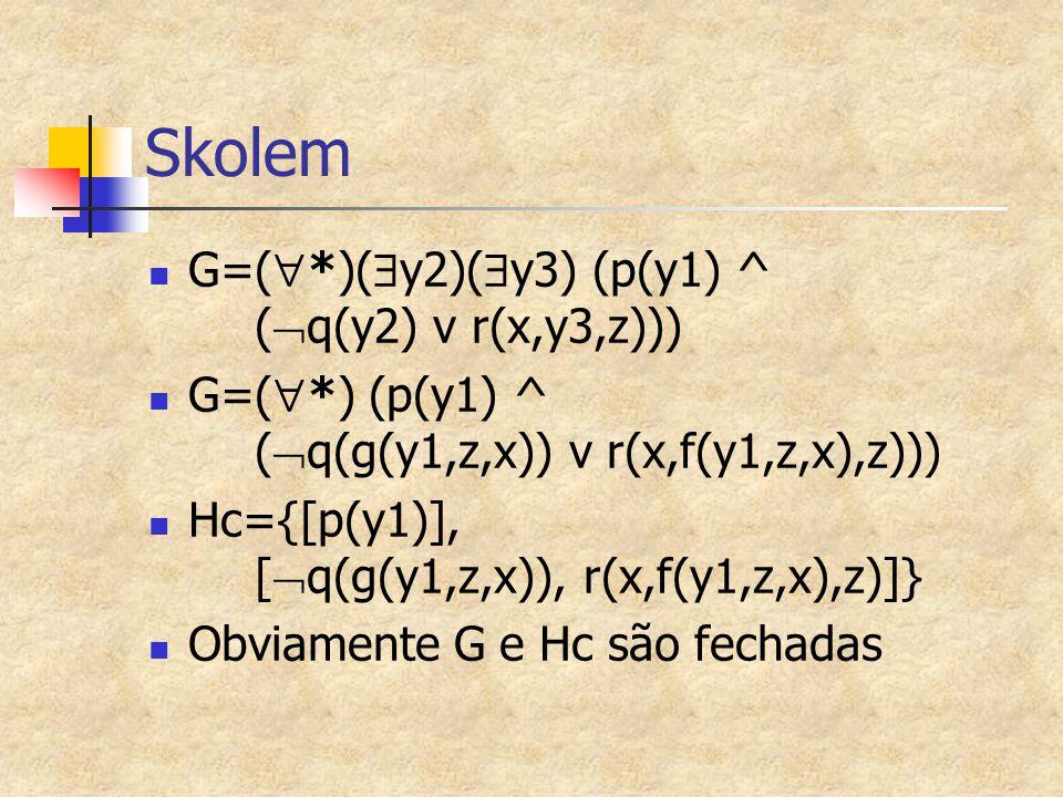 Skolem G=(  *)(  y2)(  y3) (p(y1) ^ (  q(y2) v r(x,y3,z))) G=(  *) (p(y1) ^ (  q(g(y1,z,x)) v r(x,f(y1,z,x),z))) Hc={[p(y1)], [  q(g(y1,z,x)),