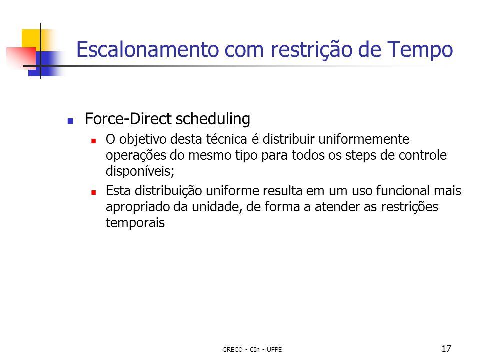 GRECO - CIn - UFPE 17 Escalonamento com restrição de Tempo Force-Direct scheduling O objetivo desta técnica é distribuir uniformemente operações do me