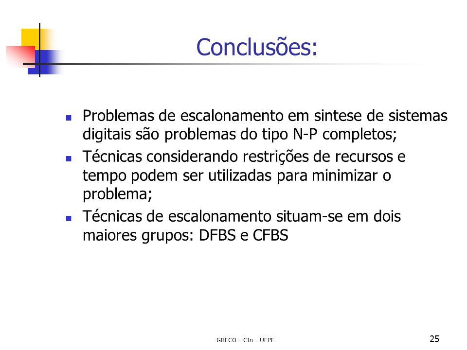 GRECO - CIn - UFPE 25 Conclusões: Problemas de escalonamento em sintese de sistemas digitais são problemas do tipo N-P completos; Técnicas considerand