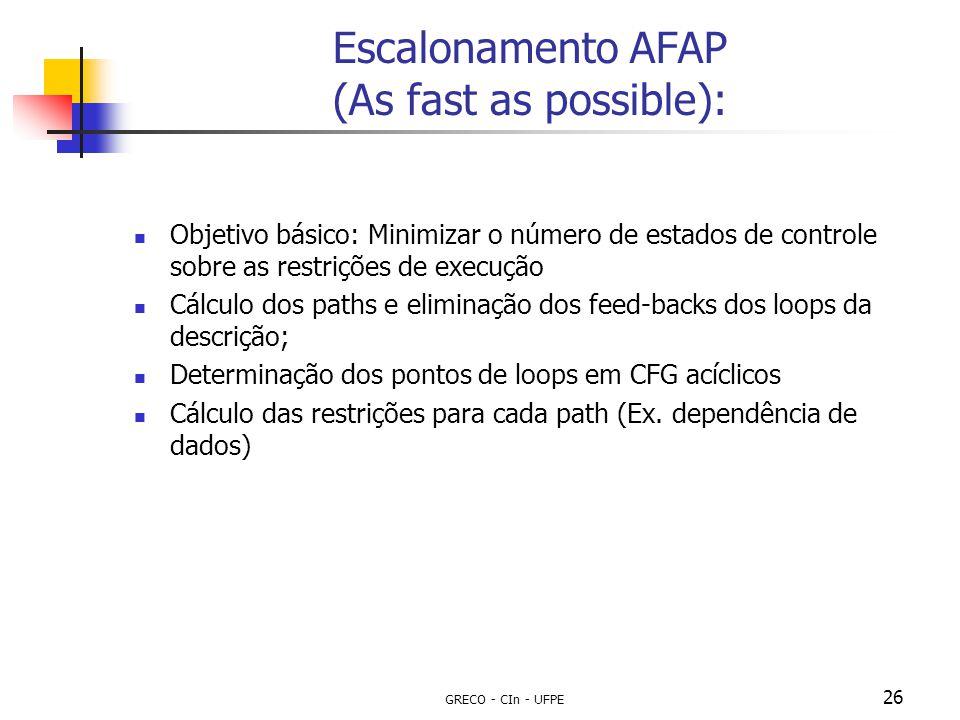 GRECO - CIn - UFPE 26 Escalonamento AFAP (As fast as possible): Objetivo básico: Minimizar o número de estados de controle sobre as restrições de exec